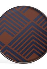 Midnight Chevron glass tray - round - L 24 x 24 x 2