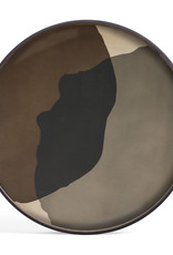 Graphite Combined Dots glass tray - round - XL 36 x 36 x 2