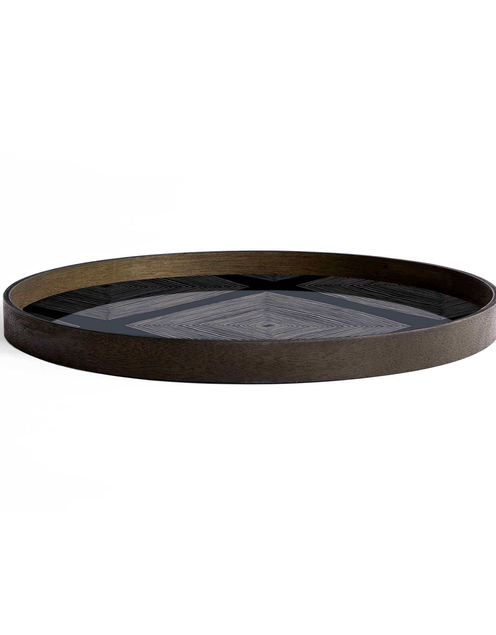 Ink Linear Squares glass tray - round - L 24 x 24 x 2