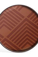 Orange Chevron glass tray - round - L 24 x 24 x 2