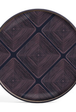 Midnight Linear Squares glass tray - round - S 19 x 19 x 2