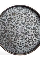 White Marrakesh wooden tray - round - L 24 x 24 x 2