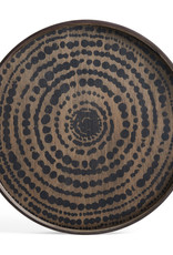 Black Beads wooden tray - round - S 19 x 19 x 2