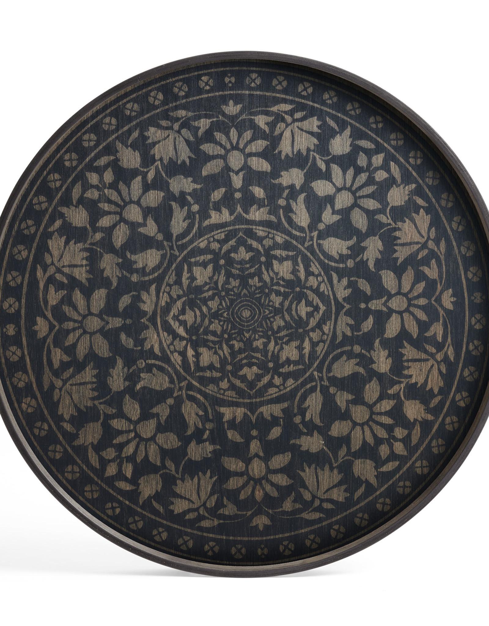 Black Marrakesh wooden tray - round - L 24 x 24 x 2