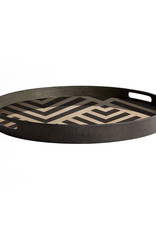 Graphite Chevron wooden tray - round - S 19 x 19 x 2