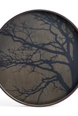 Black Tree wooden tray - round - L 24 x 24 x 2