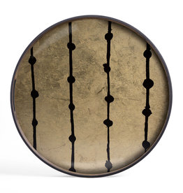 Brown Dots glass tray - round - S 19 x 19 x 2