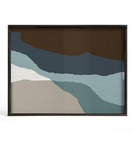 Graphite Wabi Sabi glass tray - rectangular - L 24 x 18 x 2