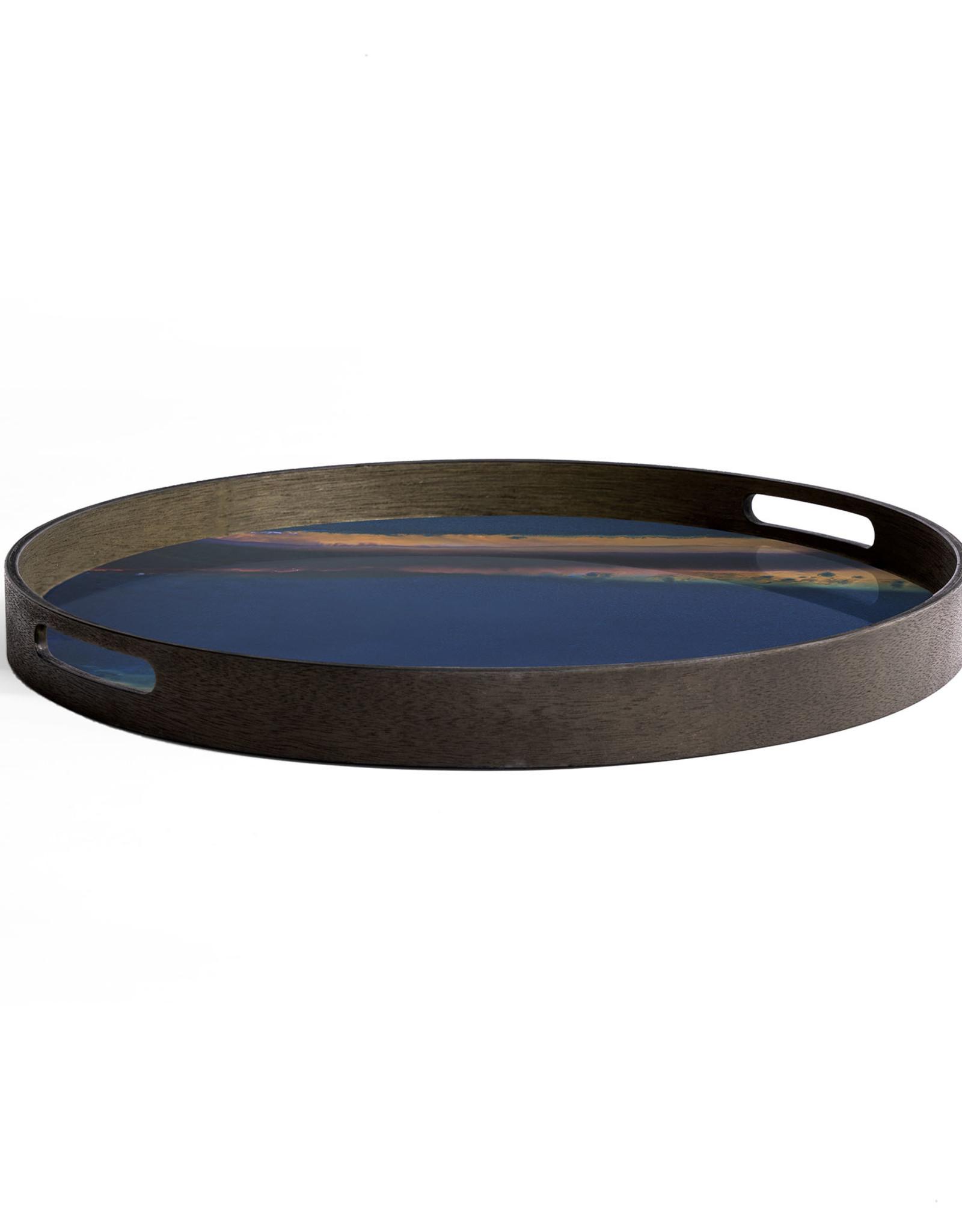 Indigo Organic glass tray - round - S 19 x 19 x 2