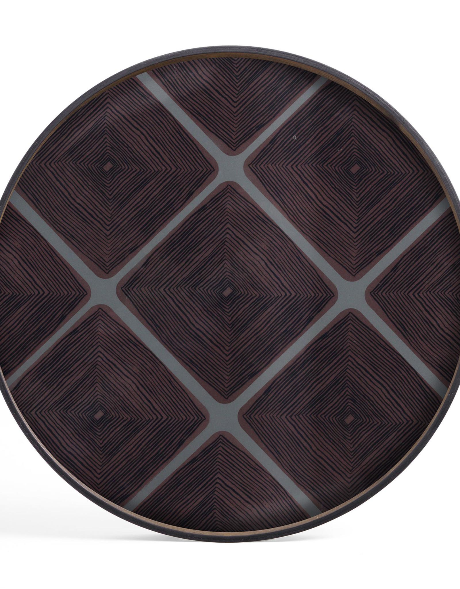 Slate Linear Squares glass tray - round - XL 36 x 36 x 2