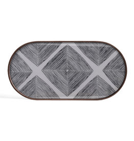 Slate Linear Squares glass tray - oblong - M 28 x 14 x 1