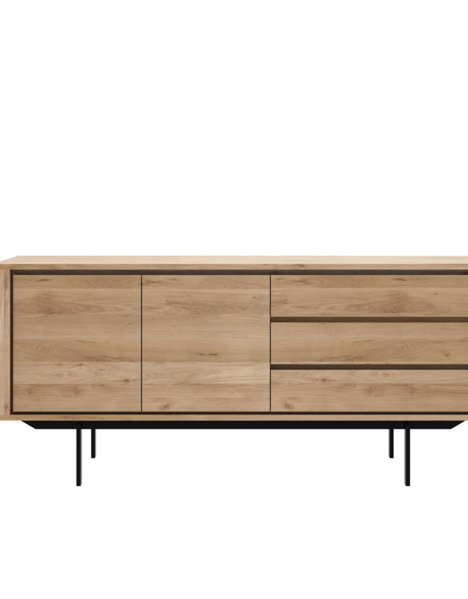Oak Shadow sideboard - 2 doors - 3 drawers - black metal legs