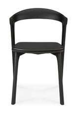 Oak Bok black dining chair - black leather - Varnished