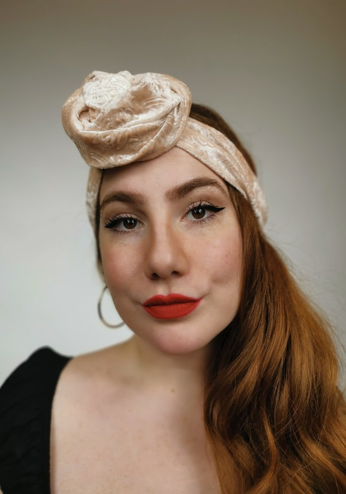 Turban Booty Jones Large Velour Rose