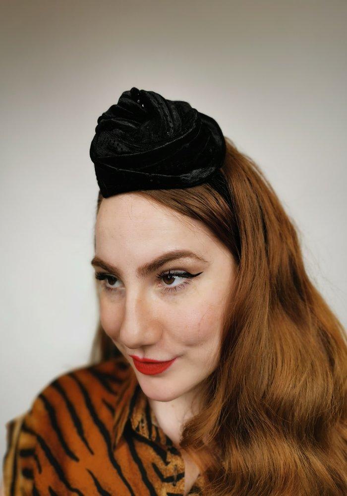 Turban large noir brillant