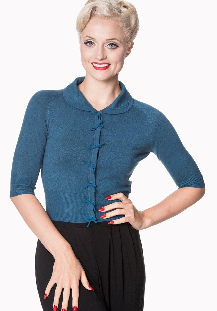 Cardigan April Bleu Pétrole