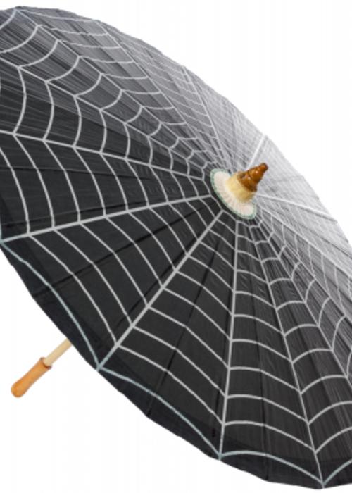 sourpuss Black and White Spider Web Umbrella
