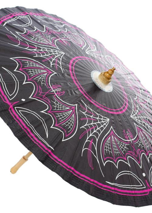 sourpuss Pink and Black Bats Umbrella