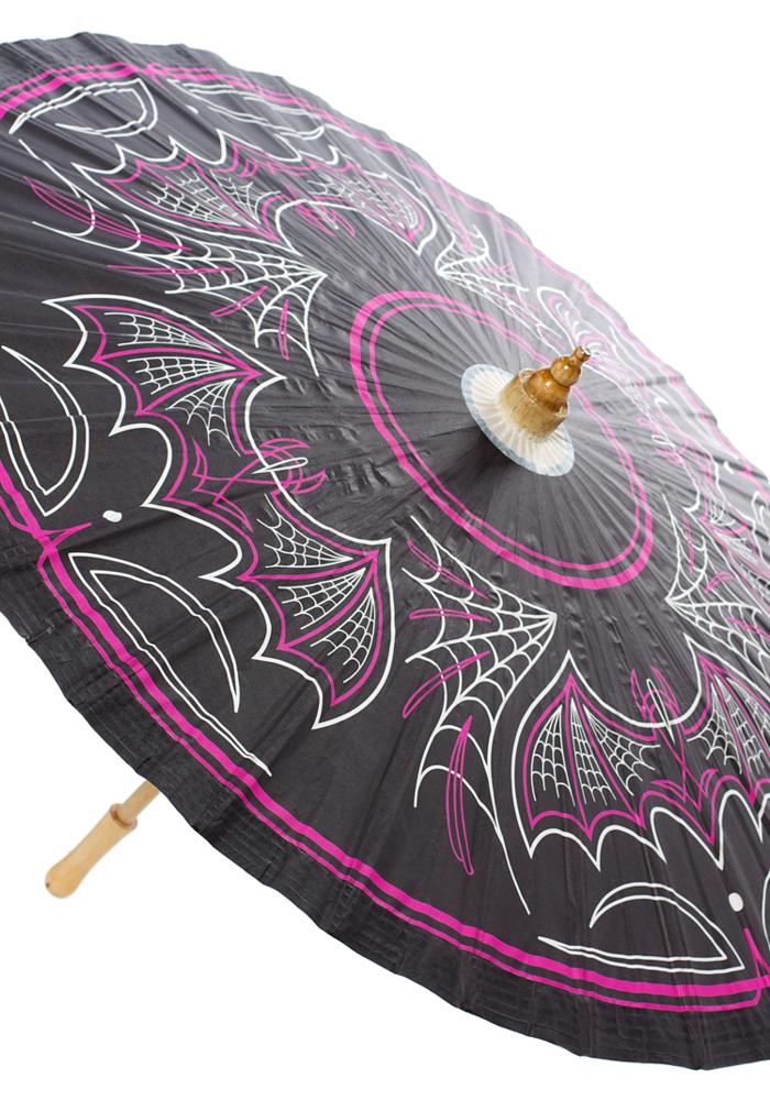 Pink and Black Bats Umbrella