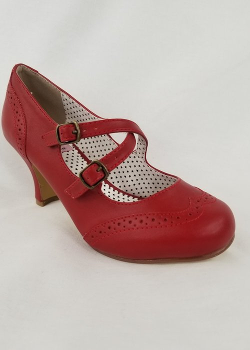 Pin-Up Couture Chaussure Flapper Rouge