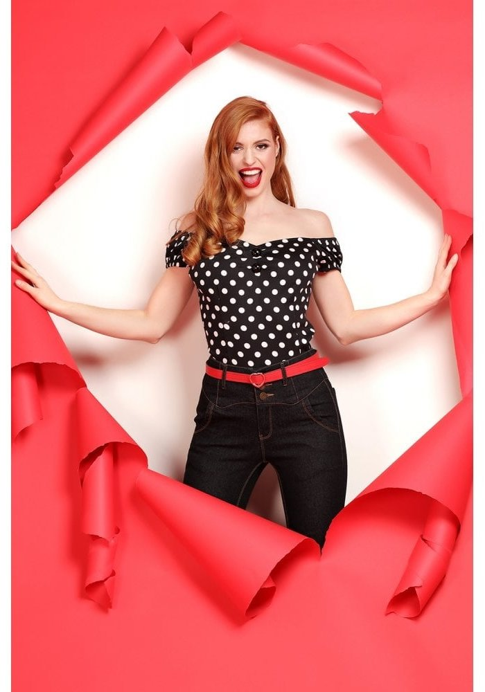 Black And White Polka Dot Dolores Top