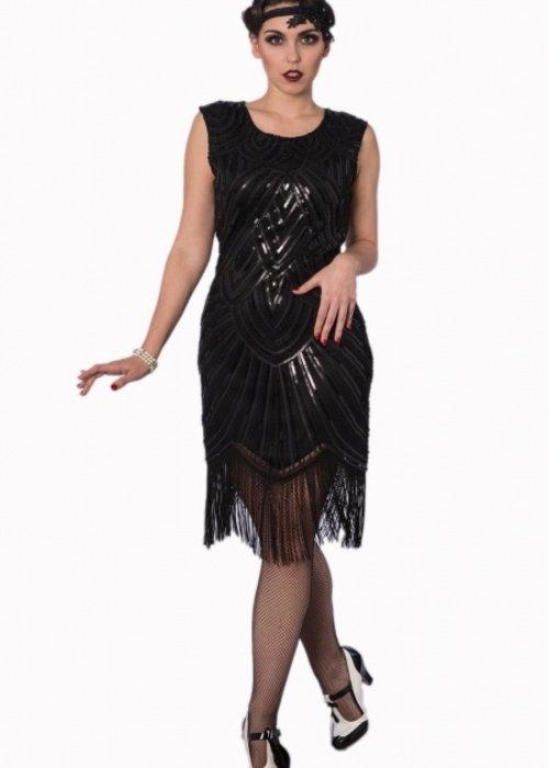 Banned Robe Flapper 20's Noir Fleur De Lys