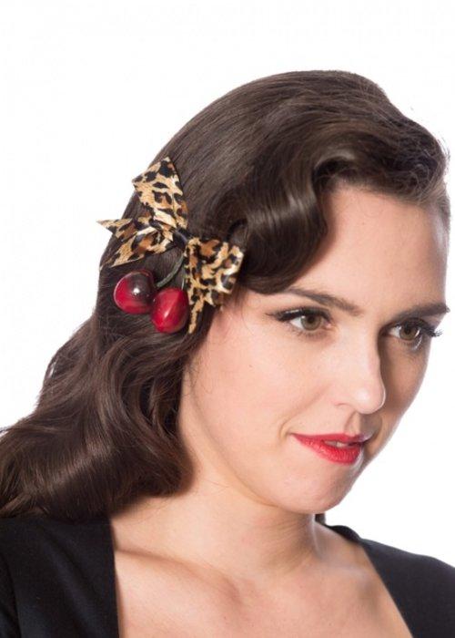 Banned Cerise Léopard Hair Clip
