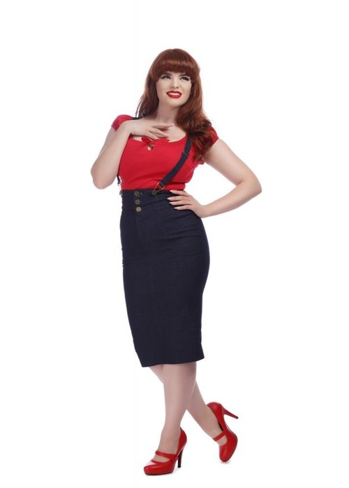Collectif Nomi  Salopette Black Denim Skirt  +