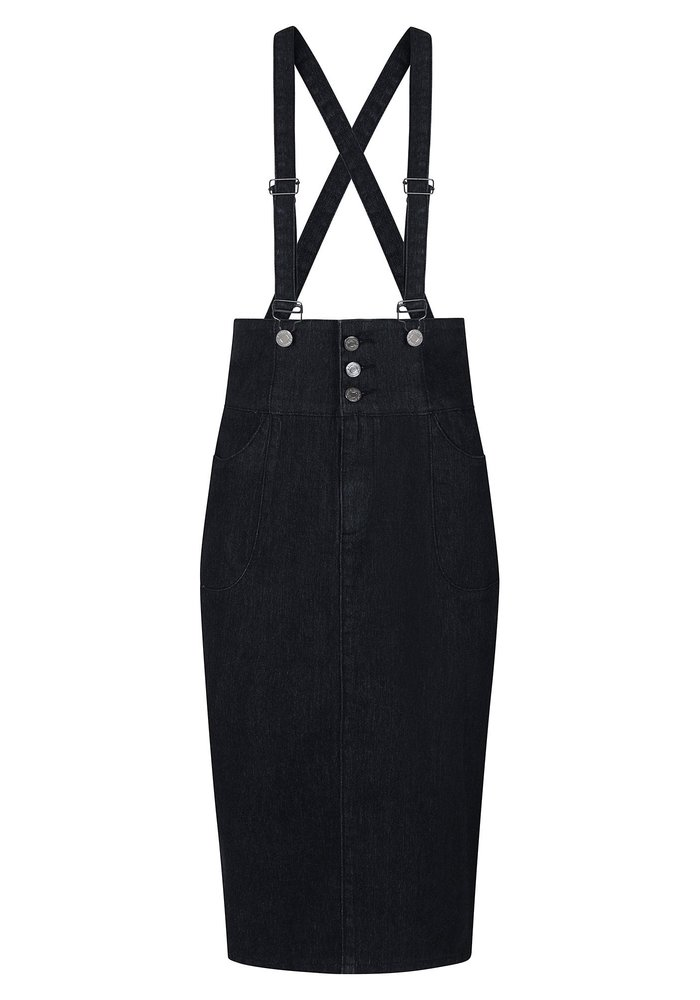 Nomi Salopette Black Denim Skirt