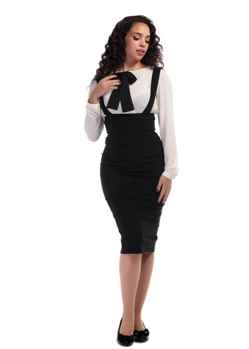 Collectif Karen Ajustée à Bretelles Black Skirt
