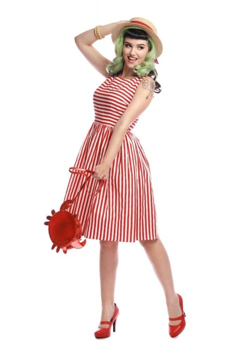 Collectif Candice Red & White Striped Dress