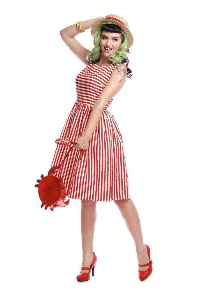 Candice Red & White Striped Dress