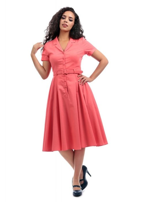 Collectif Robe Caterina Vintage Corail