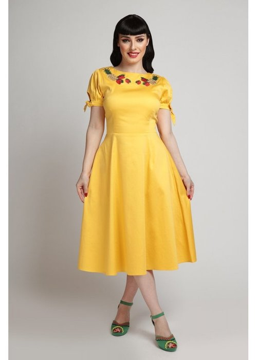 Collectif Stephanie Fruits Yellow Dress
