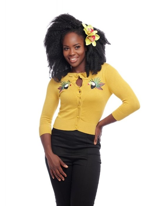 Collectif Yellow Charlene Tropical Toucan Cardigan