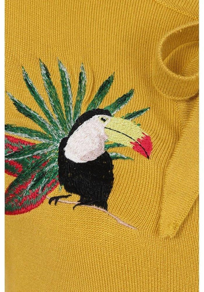 Yellow Charlene Tropical Toucan Jaune Cardigan
