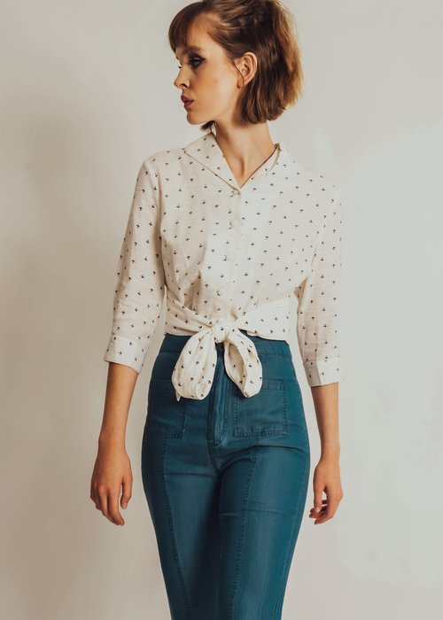Voodoo Vixen White Anchor Blouse
