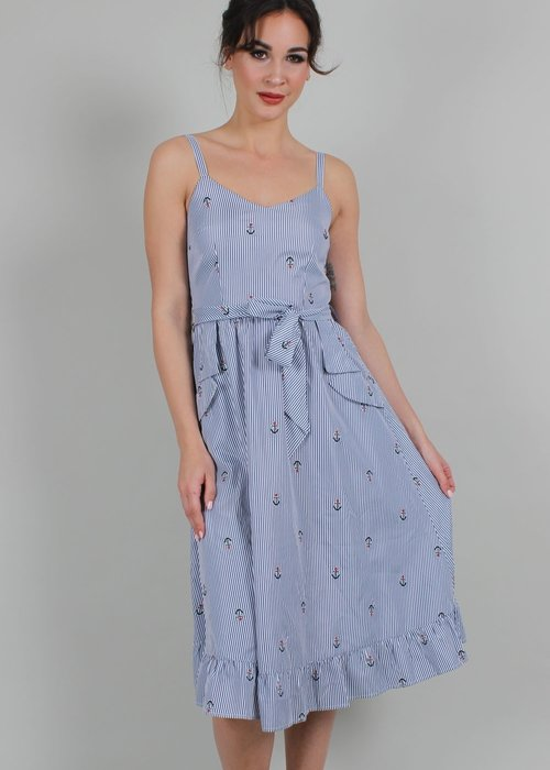 Voodoo Vixen Andy Anchor Blue Dress