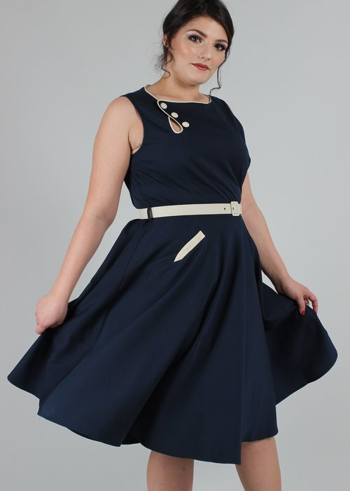 Voodoo Vixen Saloir Nyla Navy Dress