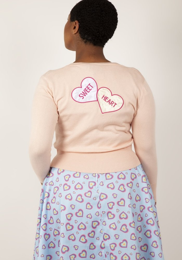 Pink Cardigan Love Heart