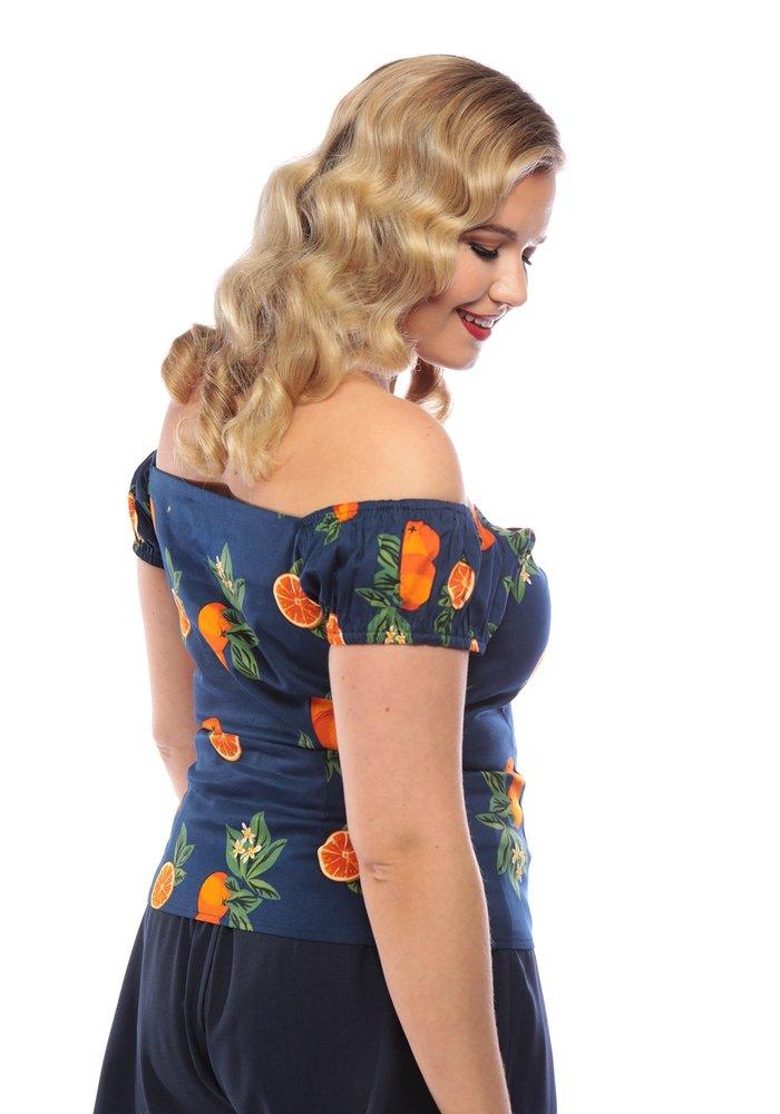 Top Dolores Marine avec Oranges +