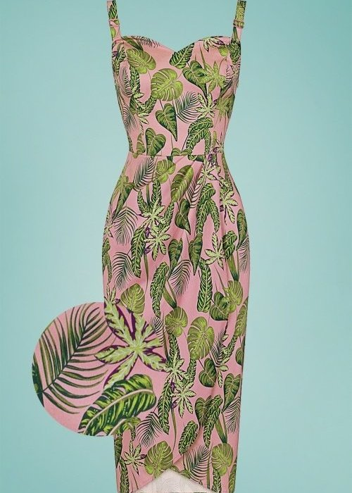 Collectif Pink Mahina Forest Dress +