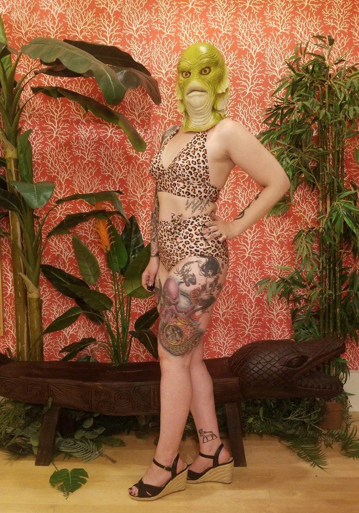 Cream & Orange Leopard Bikini Top +
