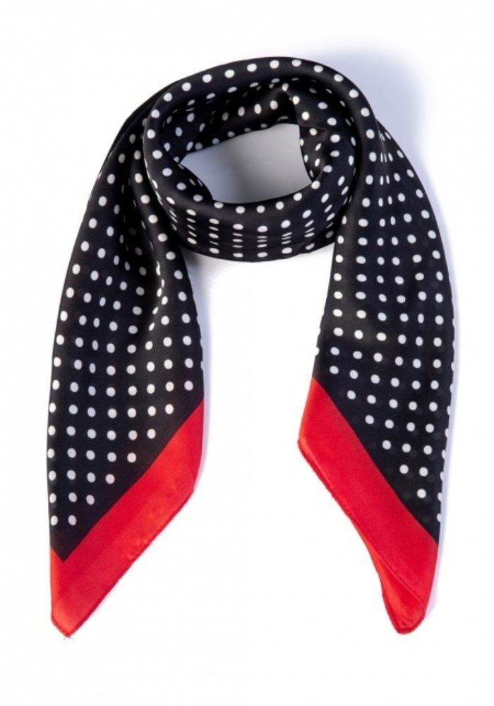 Foulard Pearl Ivy Red and Black Polkadots