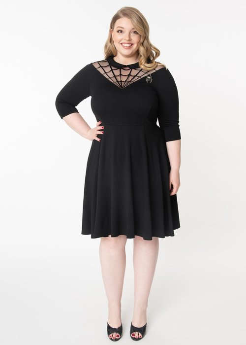 Unique Vintage Spider Web Endora Black Dress