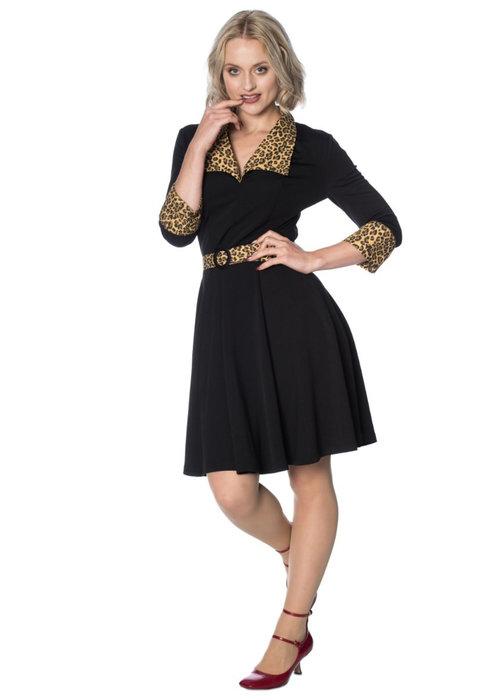 Banned Rock'N' Roll Leopard Black Dress
