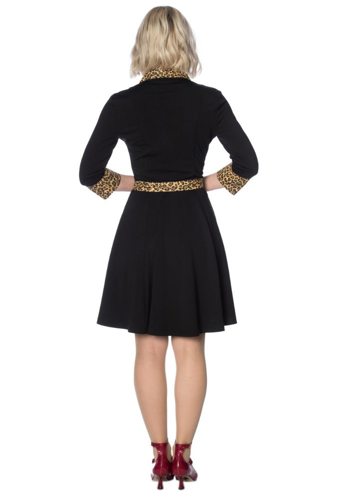 Rock'N' Roll Leopard Black Dress
