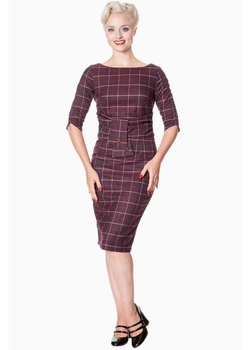 Banned Carlita Burgundy Pencil Dress