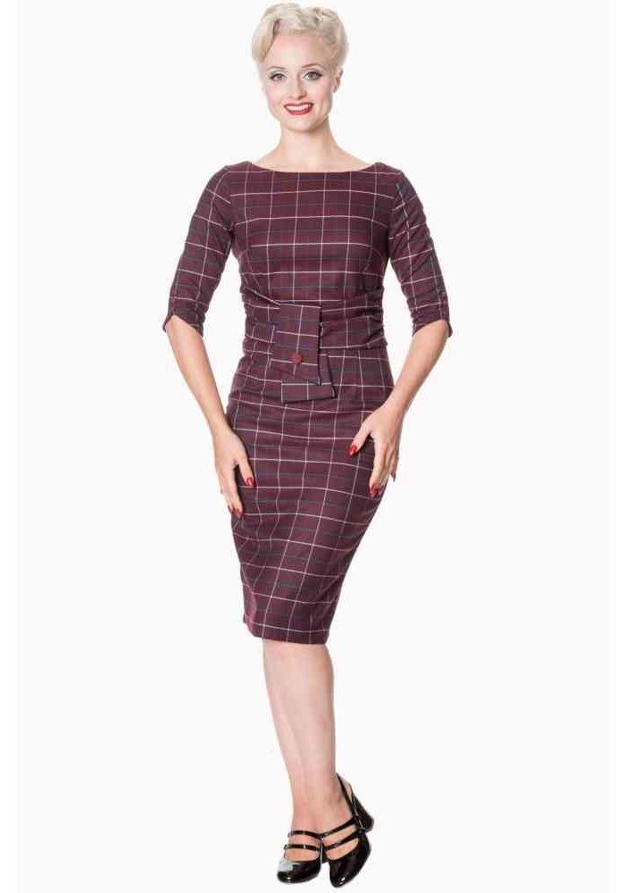 Carlita Burgundy Pencil Dress