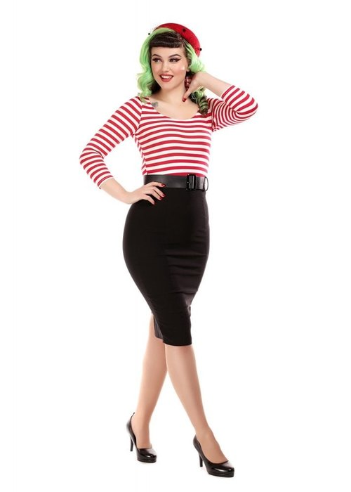 Collectif Manuela Wiggle Stripped  Black/Red Dress